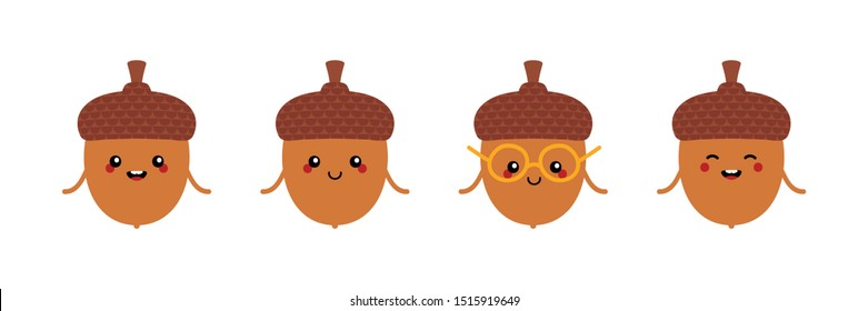 Set, collection of cute and funny cartoon acorn characters for autumn, fall design.
