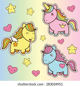 Set collection of cute kawaii style horses. Decorative bright colorful  design elements in doodle Japanese style isolated on colorful background. Vector illustration.