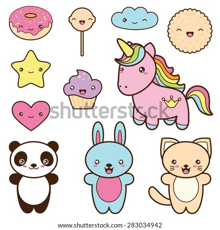 Set Collection Of Cute Kawaii Style Labels Decorative Bright Colorful Design Elements In Doodle Japanese