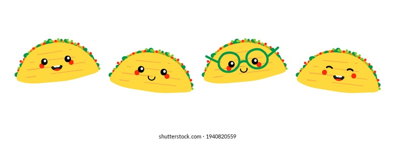 Set, collection of cute smiling cartoon style taco characters, traditional mexican dish, street food.