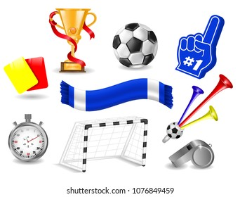 Set Collection for Design, Ad, Yellow and Red Card, Cup, Stopwatch, Whistle, Trumpet Football Fan, Foam Hand, Goal with Net, Soccer Concept, Isolated, Hand Drawn Vector Photo Realistic 3D Illustration