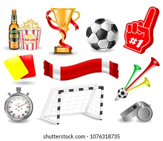 Set Collection for Design, Yellow and Red Card, Popcorn, Cup, Beer Bottle, Stopwatch, Whistle, Trumpet Football Fan, Foam Hand, Goal with Net, Soccer Concept, Hand Drawn Vector 3D Illustration