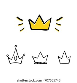 Set, collection of doodle crowns isolated on white background.