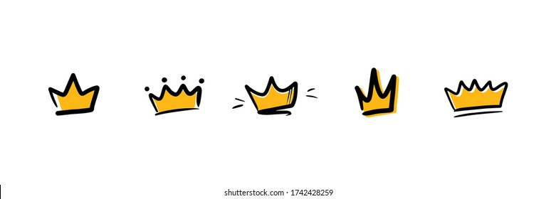 Set, collection of doodle, hand drawn golden crowns. Vector crown icons.