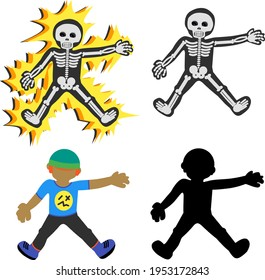 Set collection of electrocuted human skeleton, human skeleton, shadow, and a boy. Thunderstruck. High voltage. Cartoon vector illustration.