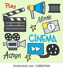 set of Collection of film equipment and extras, vector illustration