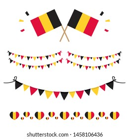 Set, collection of flags and design elements for national day in Belgium and for other holidays.