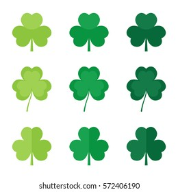 Set, collection of flat design green clover leaves, shamrock. Symbol of St.Patrick's Day.