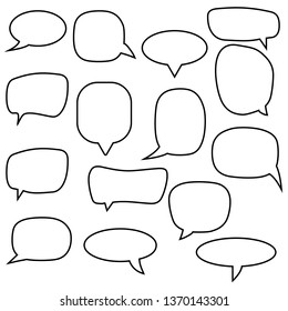 Set, collection of flat style vector speech bubbles, clouds, balloons.
