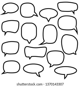 Set, collection of flat style vector speech bubbles, clouds, balloons