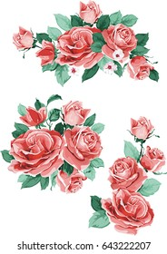 Set collection flowers roses, red buds and green leaves, isolated on white background