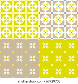 set collection of four natural textile vector pattern