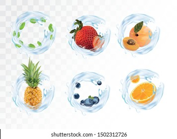 Set, collection fruits and splash water. Pineapple, strawberry, orange, blueberry, apricot and mint with splash blue water. Vector illustration