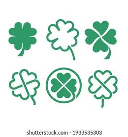 set collection green clover logo icon design