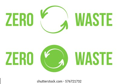 Set, collection of green zero waste heading, logos, design elements for web and print isolated on white background.