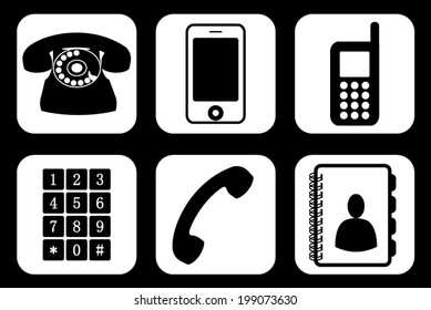 Set, collection, group of different phone icons and widgets, vector art image illustration, eps10, isolated on white background