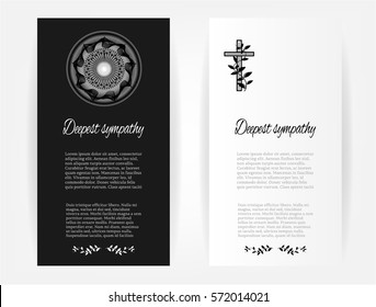 Set, collection, group of funeral template cards with simple black flowers, cross and abstract shapes, place for text