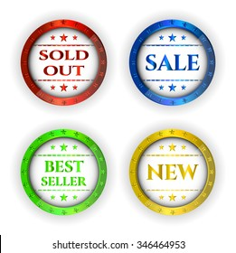 Set, collection, group of isolated, colorful - red, blue, green, yellow, metal labels with text Sold Out, Sale, Best Seller, New on white background
