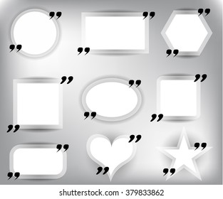 Set, collection, group of  modern, white, empty quote bubbles, isolated on bright background