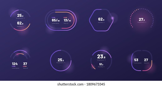 Set with collection of indicator template. UI and UX Kit. Control center design with progress bar or temperature control. Black background. Eps 10.