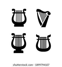 set collection luxury classic lyre harp type and shape vector icon flat illustration design isolated background