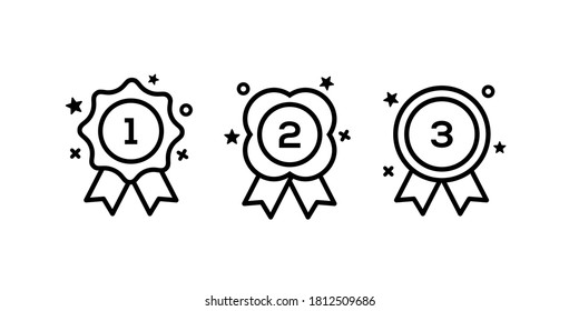 set collection of medal champion for first second and third place, 1st 2nd 3rd in black line icon Vector illustration graphic art sticker design.