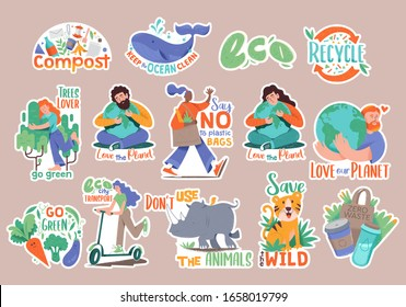 Set collection of modern doodle hipster stickers with many eco friendly people, slogans and signs. Badges design with wild animals, planet, green treeth, cute characters, phrases. Compost zero waste.