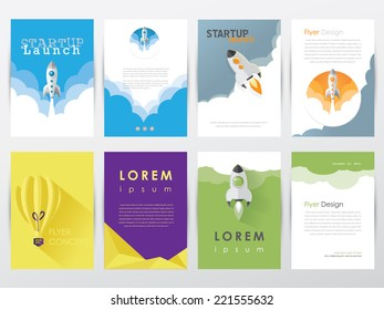 set collection of modern trendy  flyer, brochure graphic design templates- startup launch concept