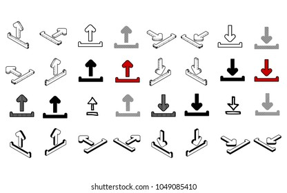 Set of Collection modern vector. Upload Download icon multi type of 3d isometric, solid, line, scribble hatch, doodle, shadow isometric and a little colour on white background