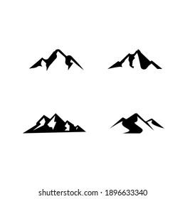 set collection Mountain black logo icon design vector flat illustration