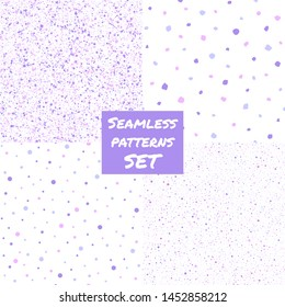Set, collection of paint splash, spray, dots, blobs, spots seamless patterns. Hand drawn or smooth flecks, specks, stains texture. Lilac, soft pastel violet color chaotic splatter, spatter background