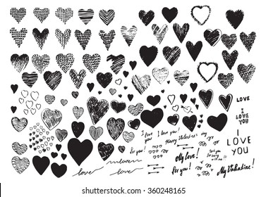 """Set, a collection of painted  hearts with the inscription """"For you!"""". Hearts in the style of drawing, doodle, sketch. Vector drawing red hearts isolated on white background. Hearts Valentine's Day."""