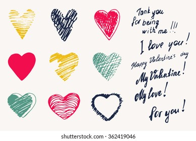 "Set, a collection of painted red hearts with the inscription ""For you!"". Hearts in the style of drawing, doodle, sketch. Vector drawing red hearts isolated on white background. Hearts Valentine's Day."