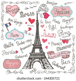 Set collection of Paris symbols,lettering.Hand drawn doodle sketchy,Badges,decor.French words good travel,Speak French,hello,life is beautiful,Eiffel tower,love,i love you..Vector illustration