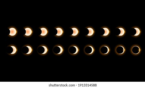 Set Collection Phases Of A Solar And Lunar Eclipse On Dark Background Sun