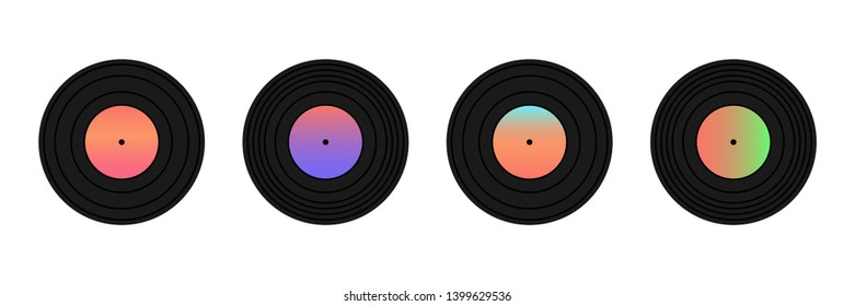 Set, collection of phonograph records or vinyl records isolated on white background.