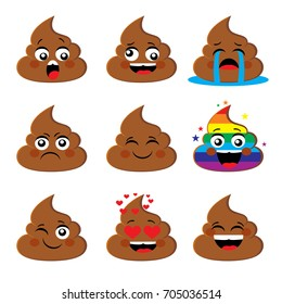 Set collection of poo shit emoji icon with different face expression Poop emoticons smileys vector collection. Emotions or poop emotions vector signs