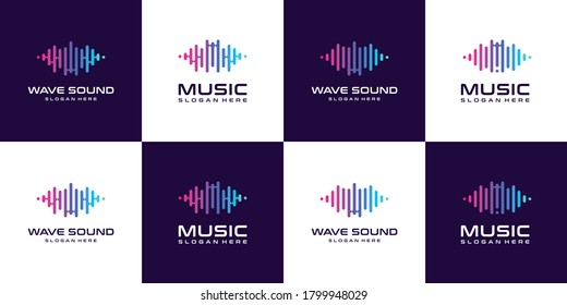Set of collection pulse Music equalizer logo. Electronic audio icon. Music wave sign Music application icon. Player music logos with minimal.