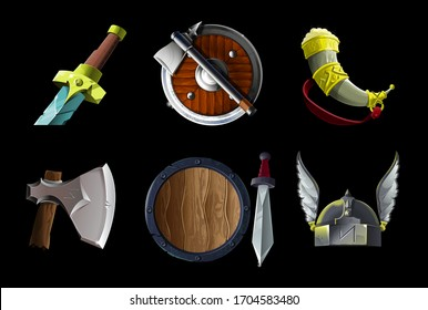 Set collection with realistic game icons items with Vikings culture objects. Sword, ax and shield, horn dead animal for drink, helmet with wings Vector illustration game design, isolated on background