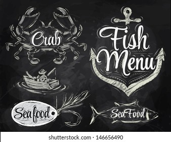 Set collection of seafood and fish menu with illustrated crab, fisherman and anchor, drawing with chalk on chalkboard background.