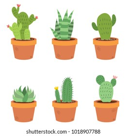 Set collection of six different illustrations of cactus and succulents in pots