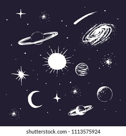 set collection of space objects.Universe elements.Hand drawn style.Vector illustration