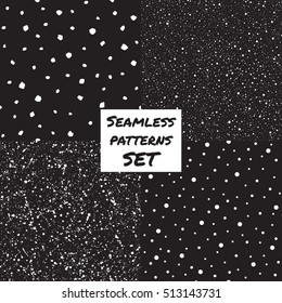Set, collection of splash, spray, dots, blobs, spots seamless patterns. Black and white chaotic ornamentation. Hand drawn and smooth flecks, specks, stains texture. Night sky, falling snow background.