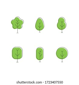 Set collection trees icons, forest, park and garden tree.