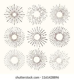 Set and collection of trendy hand drawn retro sunburst/bursting rays design elements.