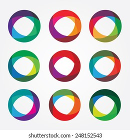set collection of trendy multicolored overlapping transparent circle shaped logo design elements