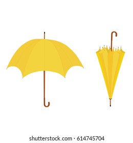 Set, collection of two yellow umbrellas opened and closed vector illustration. Umbrella rain, umbrella icon