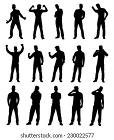 Set collection of various different man silhouettes in different poses. Easy editable layered vector illustration.