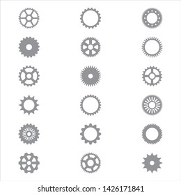 Set, collection of various steel, metal, iron spur or ring gear silhouettes, icons with pinion edge, cogwheels, flywheels. Simple mechanical, tech, steampunk, industrial vector illustration.