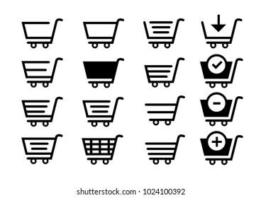 Set collection of vector eps shopping cart icons clipart pictogram E-commerce supermarket Self service Online Shop Website Market keeper Shopkeeper Cart Handcart Prohibition Best internet Trolley icon